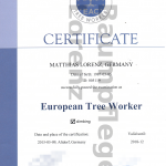 "Zertifikat ""European Tree Worker"""